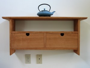 cherry wall shelf with drawers
